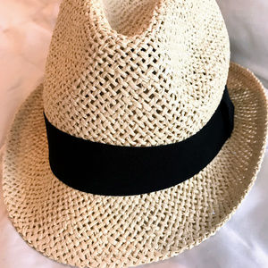 H&M Straw Fedora with Black Trim - NEW - NWT